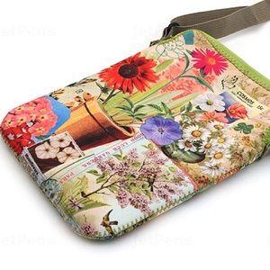 Garden flower green pink summer crossbody slingbag